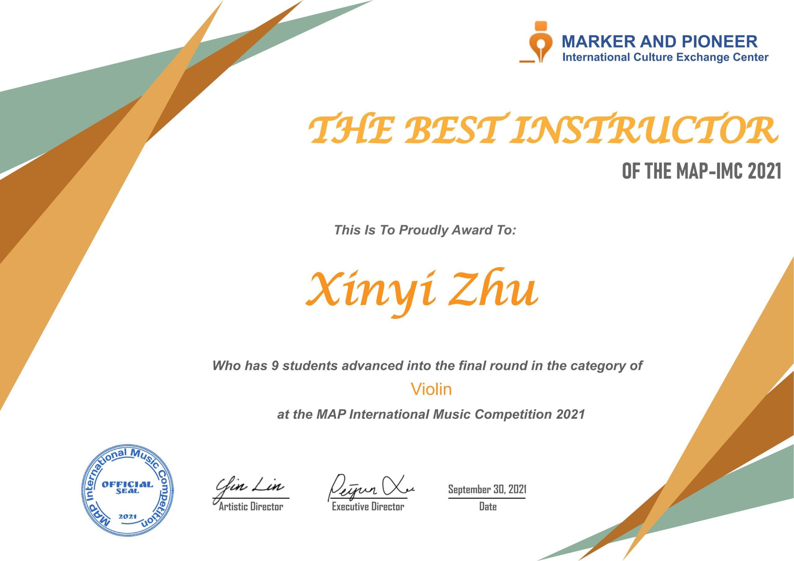 The Best Instructors at MAP-IMC 2021 / MAP国际音乐大赛最佳指导奖